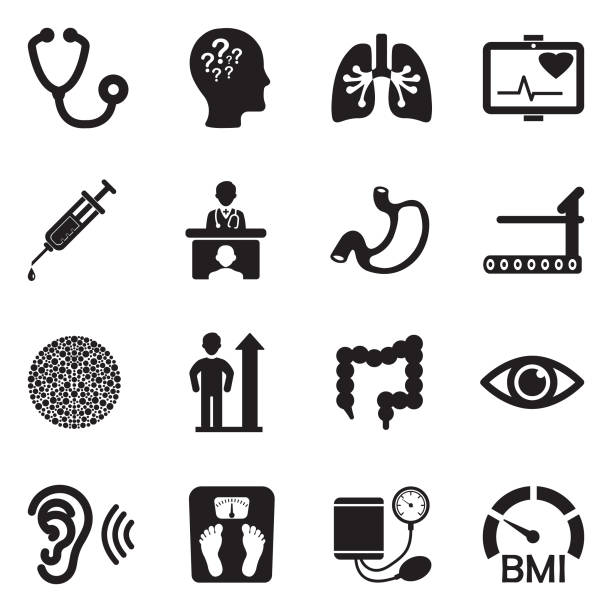 Körperliche Untersuchung Icons. Schwarze flache Bauweise. Vektor-Illustration. – Vektorgrafik