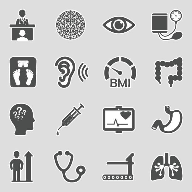 Körperliche Untersuchung Icons. Aufkleber-Design. Vektor-Illustration. – Vektorgrafik