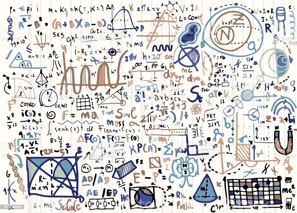 Physical formulas and phenomenons on note paper. hand vector art illustration