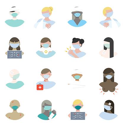 Physical Injury Icons, Injured People Avatars Illustration