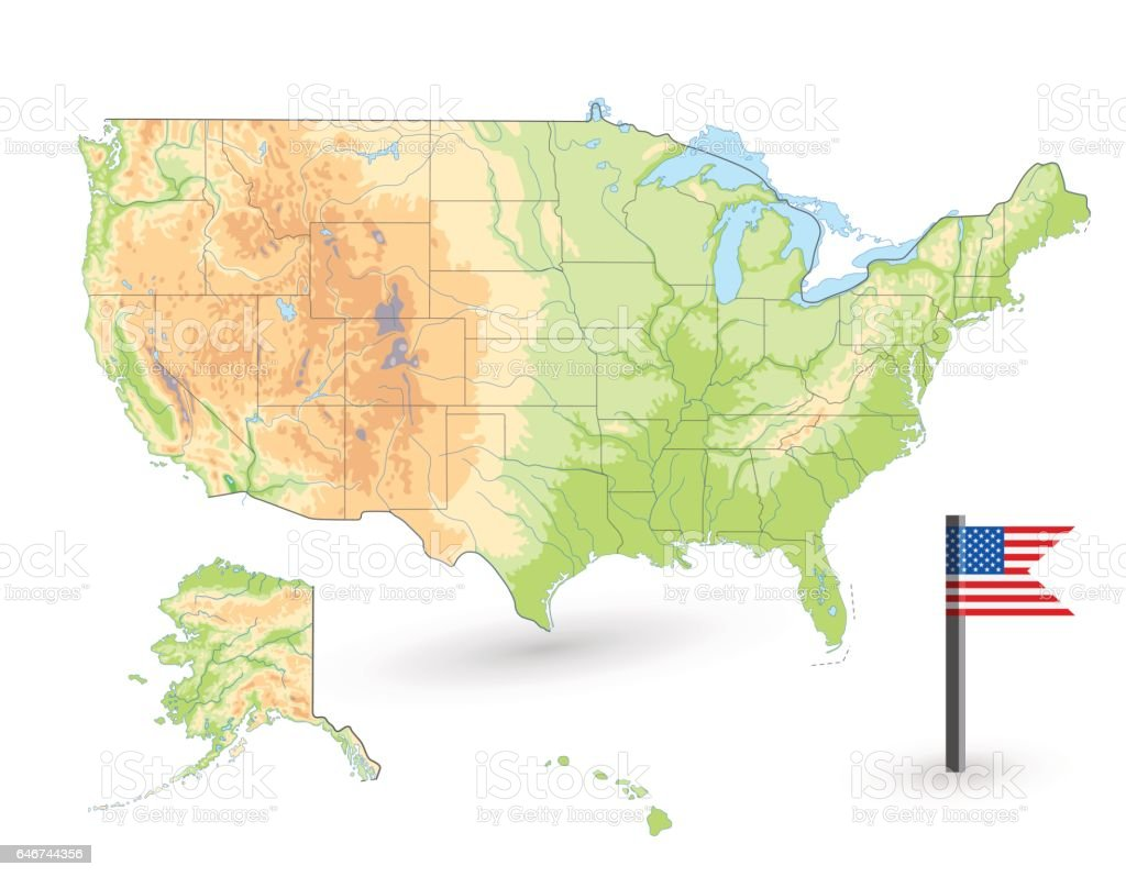 Usa Physical Map Isolated On White Stock Illustration Download Image Now Istock