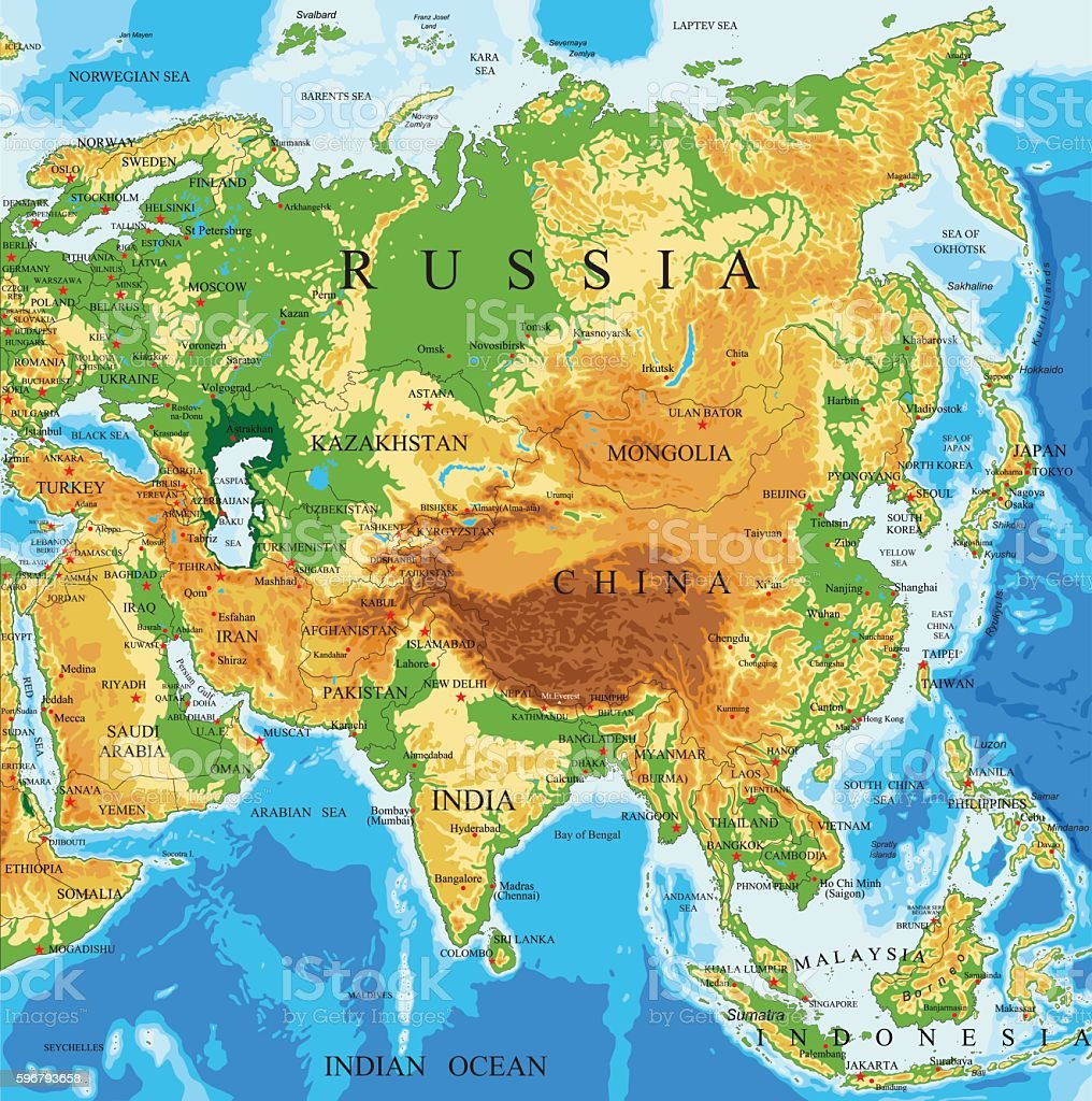 Physical Map Of Asia With Labels.Physical Map Of Asia Stock Illustration Download Image Now