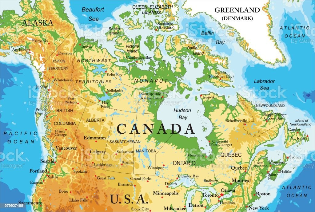Physical map of Canada vector art illustration