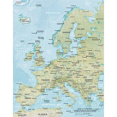 Vector illustration of the physical map of Europe  Reference map was created by the US Central Intelligence Agency and is available as a public domain map at the University of Texas Libraries website.  https://www.cia.gov/library/publications/resources/the-world-factbook/graphics/ref_maps/physical/pdf/europe.pdf