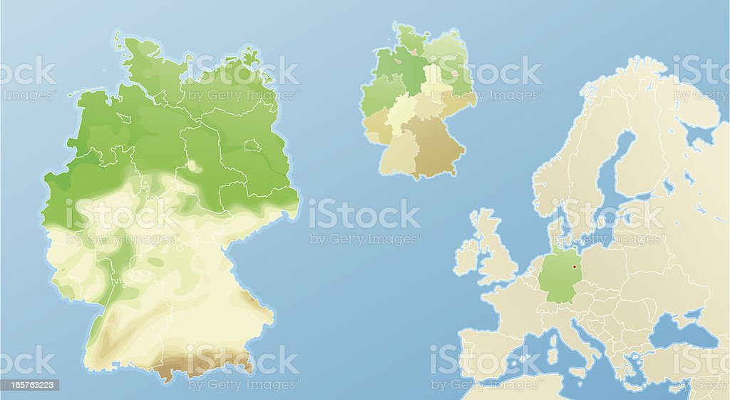 Physical map of Germany - topography and political geography royalty-free stock vector art