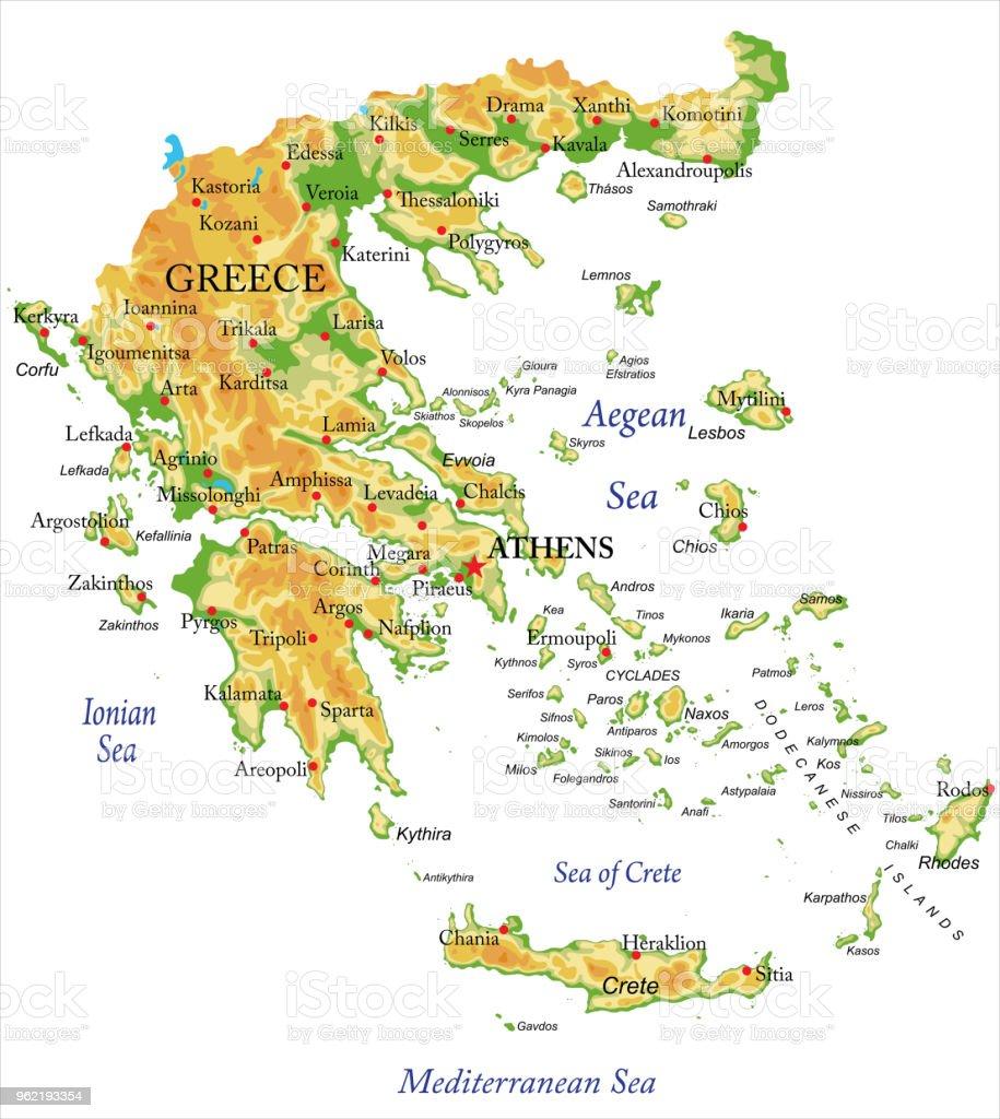 Karte Griechenland Mykonos.Physische Karte Von Griechenland Stock Vektor Art Und Mehr Bilder