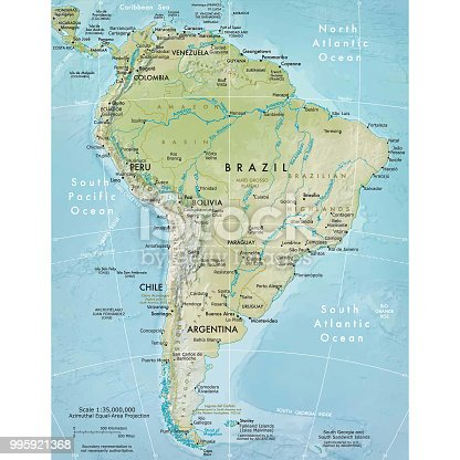 Vector illustration of the physical map of South America  Reference map was created by the US Central Intelligence Agency and is available as a public domain map at the University of Texas Libraries website.  https://www.cia.gov/library/publications/resources/the-world-factbook/graphics/ref_maps/physical/pdf/south_america.pdf