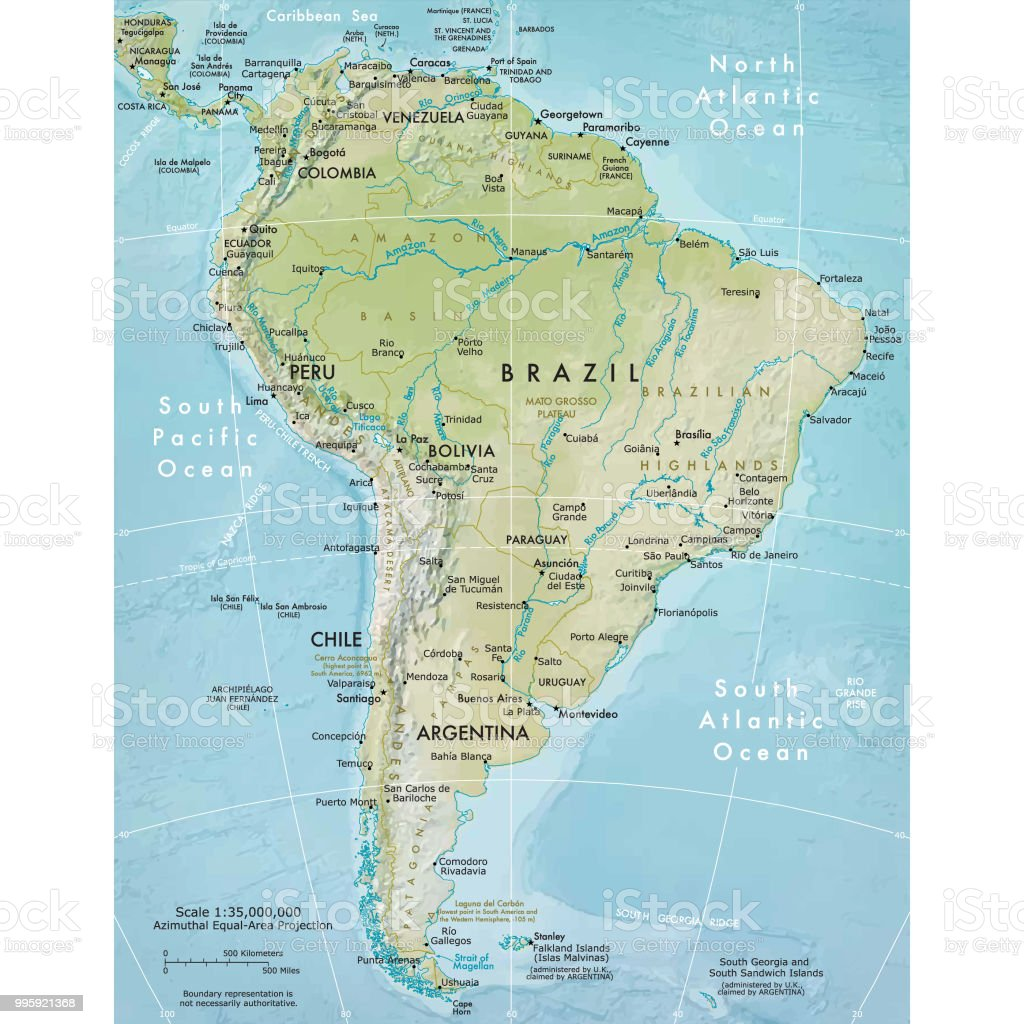 Physical map of South America vector art illustration