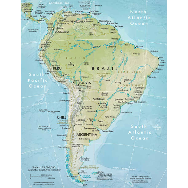 physical map of south america - south america maps stock illustrations