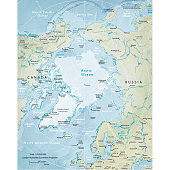 Vector illustration of the physical map of the Arctic region.  Reference map was created by the US Central Intelligence Agency and is available as a public domain map at the University of Texas Libraries website.  https://www.cia.gov/library/publications/resources/the-world-factbook/graphics/ref_maps/physical/pdf/arctic_region.pdf