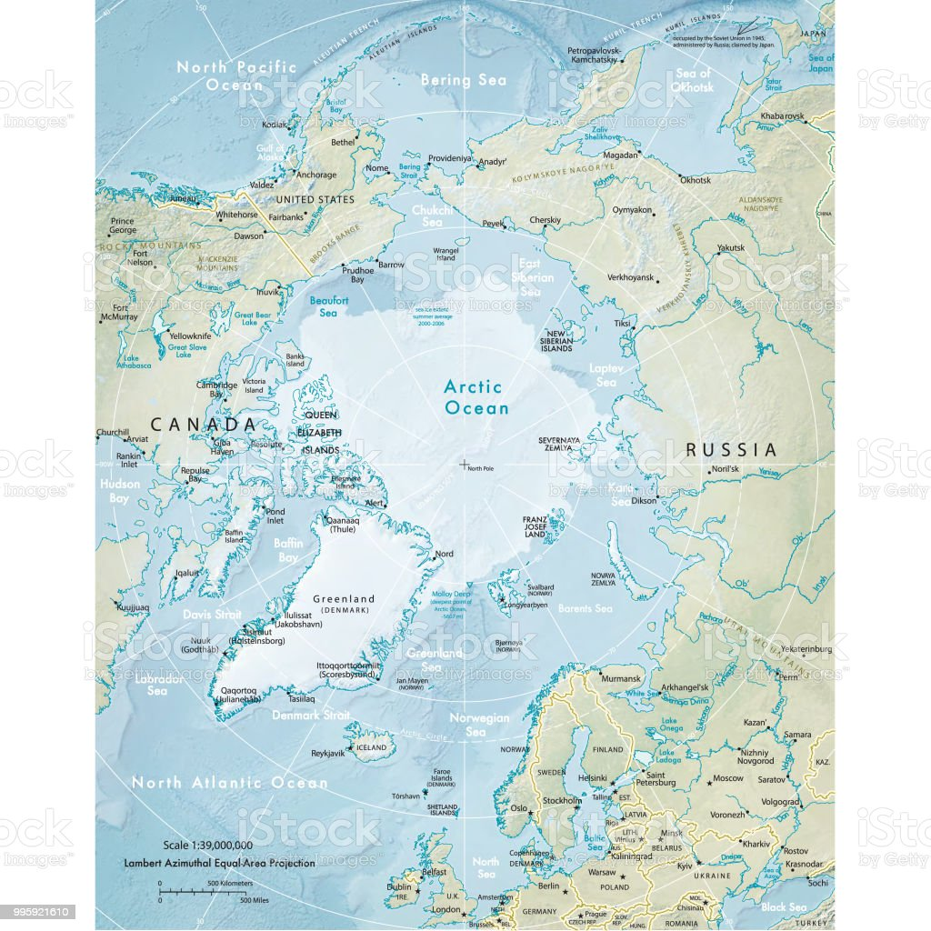 Physical map of the Arctic Region vector art illustration