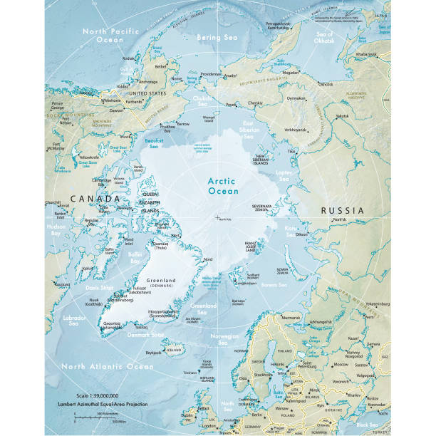 Physical map of the Arctic Region Vector illustration of the physical map of the Arctic region.  Reference map was created by the US Central Intelligence Agency and is available as a public domain map at the University of Texas Libraries website.  https://www.cia.gov/library/publications/resources/the-world-factbook/graphics/ref_maps/physical/pdf/arctic_region.pdf north pole stock illustrations