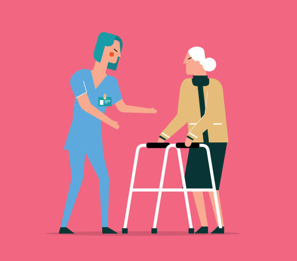 illustrations, cliparts, dessins animés et icônes de stock physique - vieille femme - aide soignant