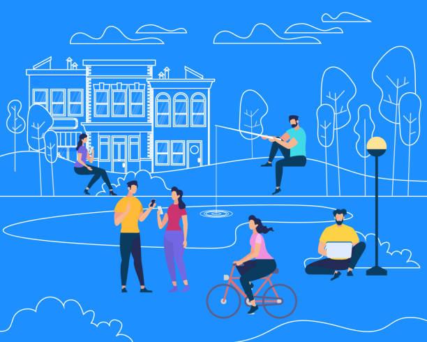 illustrazioni stock, clip art, cartoni animati e icone di tendenza di physical summer outdoor people charactres activity - city walking background