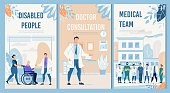 Physical Therapy and Rehabilitation Professional Services Hospital Set. Disabled People, Doctor Consultation, Medical Team Flat Flyers Collection. Healthcare and Medicine. Vector Cartoon Illustration