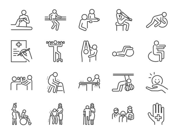 Physical therapy line icon set. Included icons as recovery, body, Nursing Home, take care, hospital, physiology and more. Physical therapy line icon set. Included icons as recovery, body, Nursing Home, take care, hospital, physiology and more. physical therapy stock illustrations