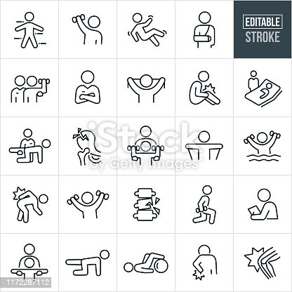 A set of physical therapy icons that include editable strokes or outlines using the EPS vector file. The icons include physical therapists, patients, the human body, lifting weights, rehabilitation, fall, injury, broken arm, personal trainer, exercises, recuperation, injured knee, hospital bed, broken hip, resistance bands, pool exercises, back injury, lunges, assessment and other physical therapy related icons.