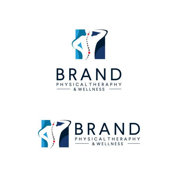 иллюстрация логотипа физической терапии вектора. логотип здоровья тела икона. естественный оздоровительный дизайн шаблона. люди терапии к - physical therapy stock illustrations