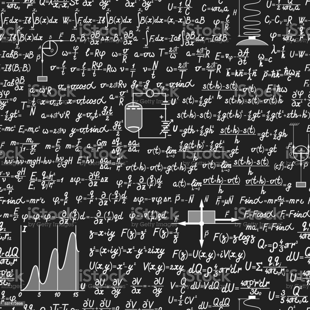 Physical vector seamless pattern on a blackboard vector art illustration