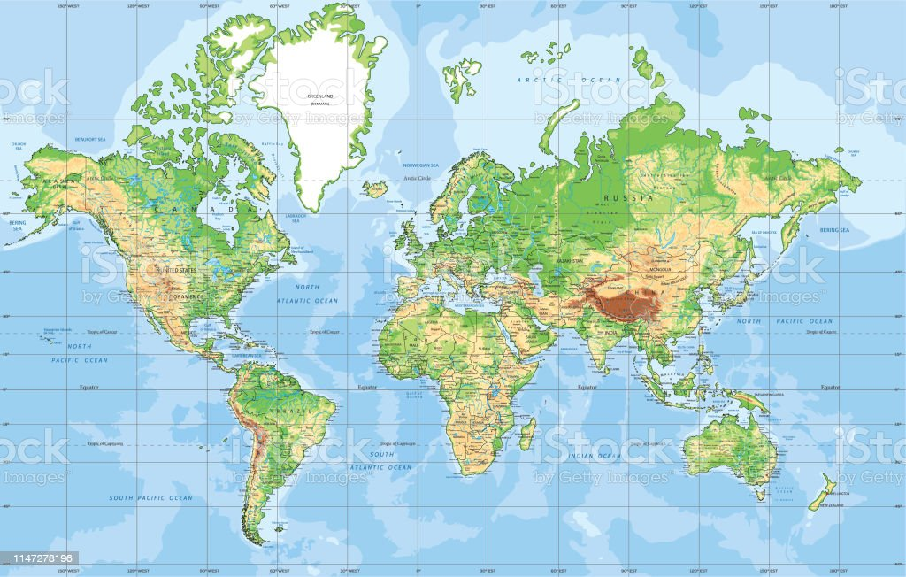 Physical World Map In Mercator Projection Stock Illustration ...