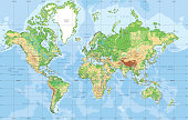 Physical World map in Mercator projection. Organized vector illustration on seprated layers.