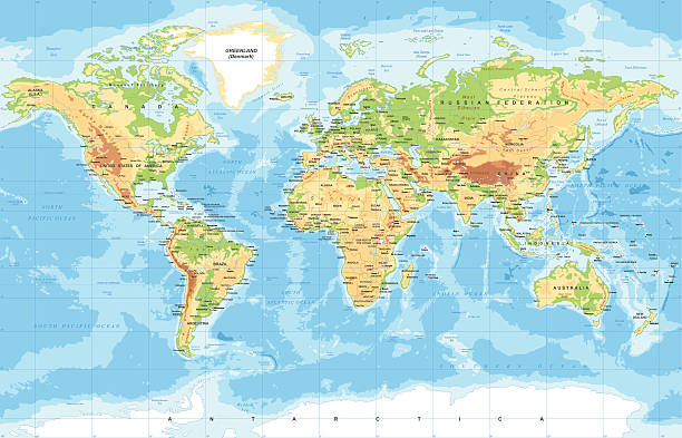 physical world map - weltkarte stock-grafiken, -clipart, -cartoons und -symbole