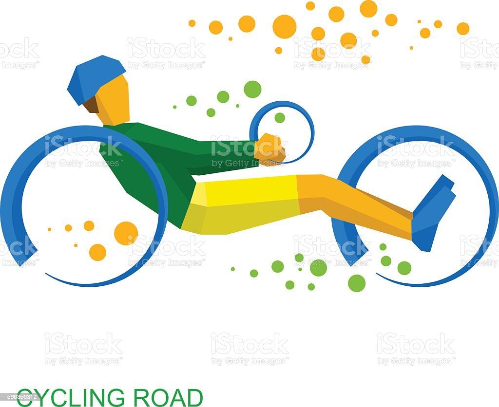 Physically disabled cyclist. Cycling road for people with disabilities royalty-free physically disabled cyclist cycling road for people with disabilities stock vector art & more images of activity