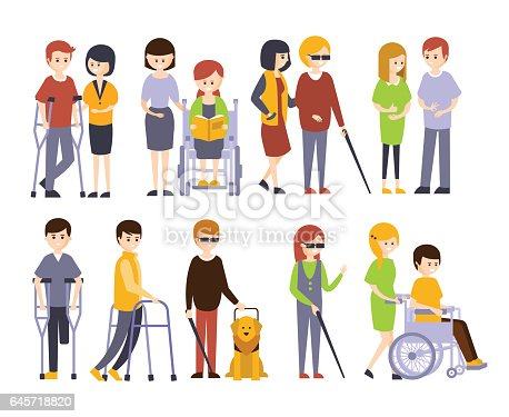 Physically Handicapped People Receiving Help And Support