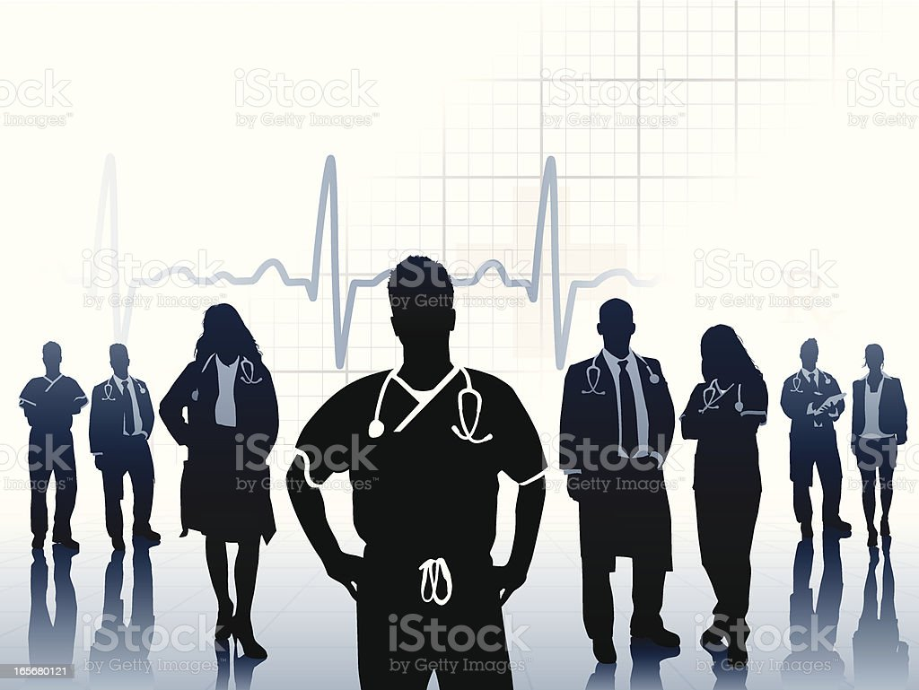Physician leading medical exam royalty-free stock vector art