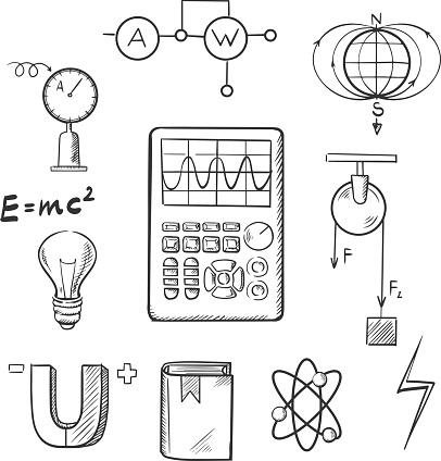 Physik Und Mechanik Skizze Icons Stock Vektor Art und mehr
