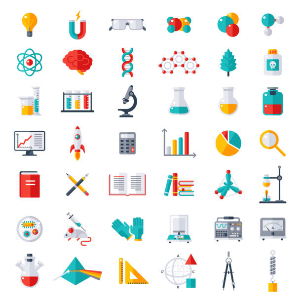 Physics, Chemistry, Biology Icons Set Physics, Chemistry and Biology, laboratory and science equipment Icons Set. Flat design vector illustration. Latex Gloves. Molecules, Data Analysis. Scientific Research. Chemical Experiment. laboratory equipment stock illustrations