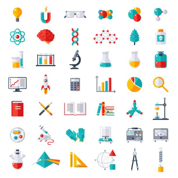 Physics, Chemistry, Biology Icons Set vector art illustration