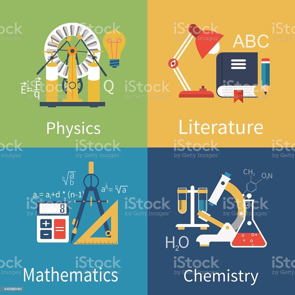 Physics, chemistry, math, literature vector art illustration