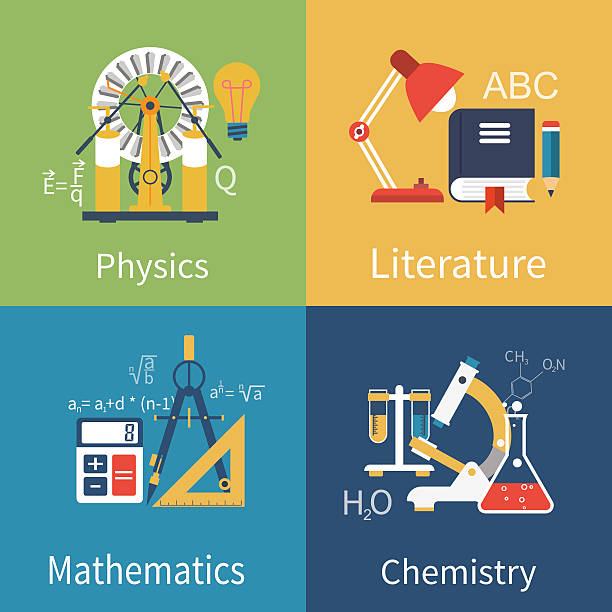 physics, chemistry, math, literature - math class stock illustrations, clip art, cartoons, & icons