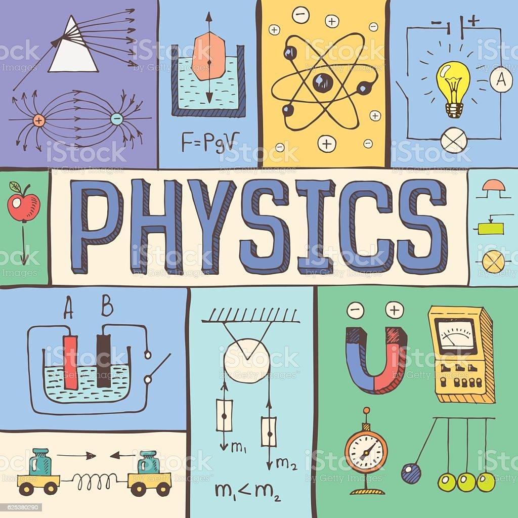 physics poster concept vector illustration fruit apple vectors atom banner cut sign