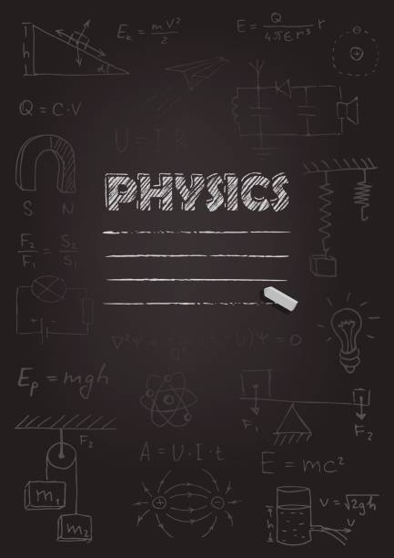 物理学のお手本のカバー。黒い黒板に描くチョーク。ベクトルの図。 - 数学の授業点のイラスト素材/クリップアート素材/マンガ素材/アイコン素材