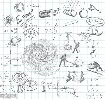 Hand-drawn doodle pencil sketch of various physics subject matter. Includes: atoms, earth, E=Mc2, magnet, Newton's 2nd Law, galaxy, lever, pulley, winch, inclined plane, gears, optics, electrical calculation, Law of Gravity, pendulum, etc. All images are grouped and on separate layers making for easy changes. Graph paper on layer that can be easily removed. XL 5000x5000 jpeg included.