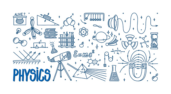 Physics doodle with magnet, prism, telescope, atom and different experiments. Hand drawn science items. Physics theory elements and formula equation isolated in white background. Card with vector illustration in doodle style