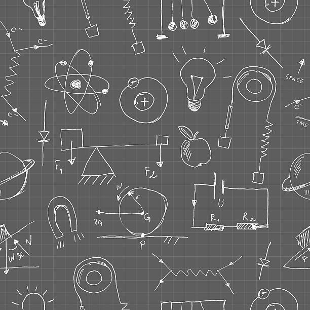 Physics doodles seamless pattern vector art illustration
