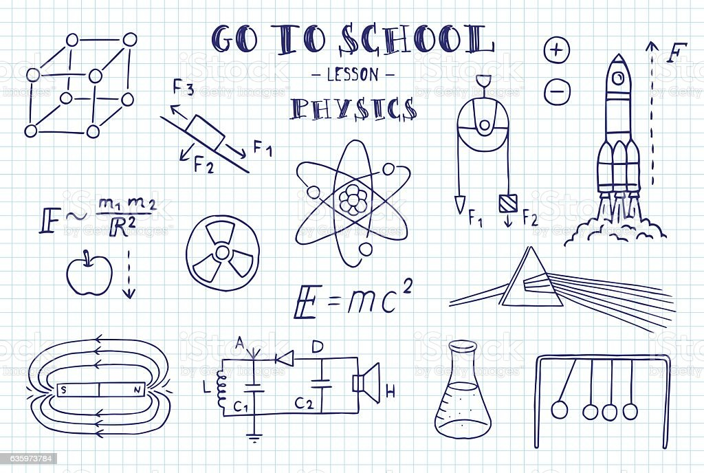 Physics. Hand sketches on the theme of Physics. vector art illustration
