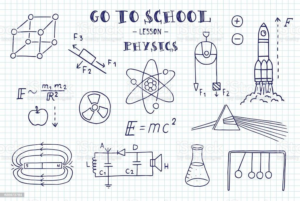 Physics. Hand sketches on the theme of Physics. - ilustração de arte em vetor