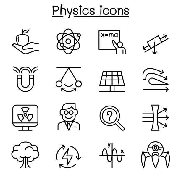 Physics icon set in thin line style Physics icon set in thin line style aerodynamic stock illustrations