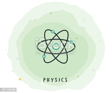 Physics Icon with Watercolor Patch
