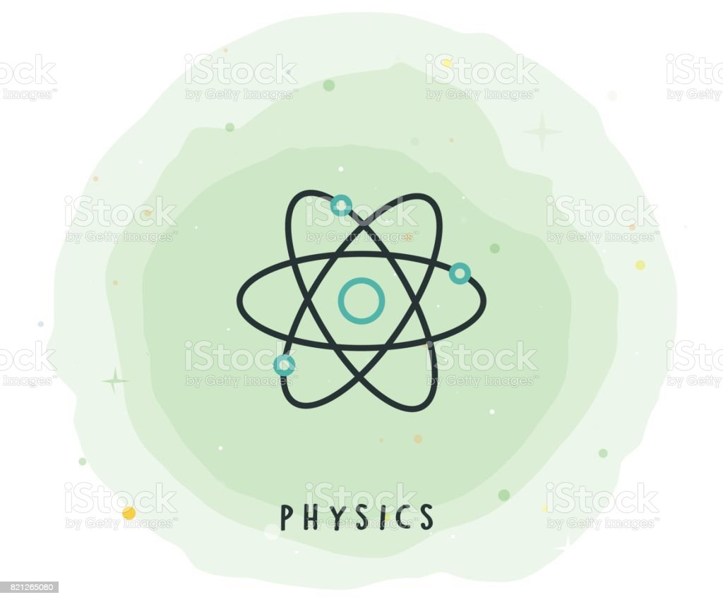 Physics Icon with Watercolor Patch vector art illustration