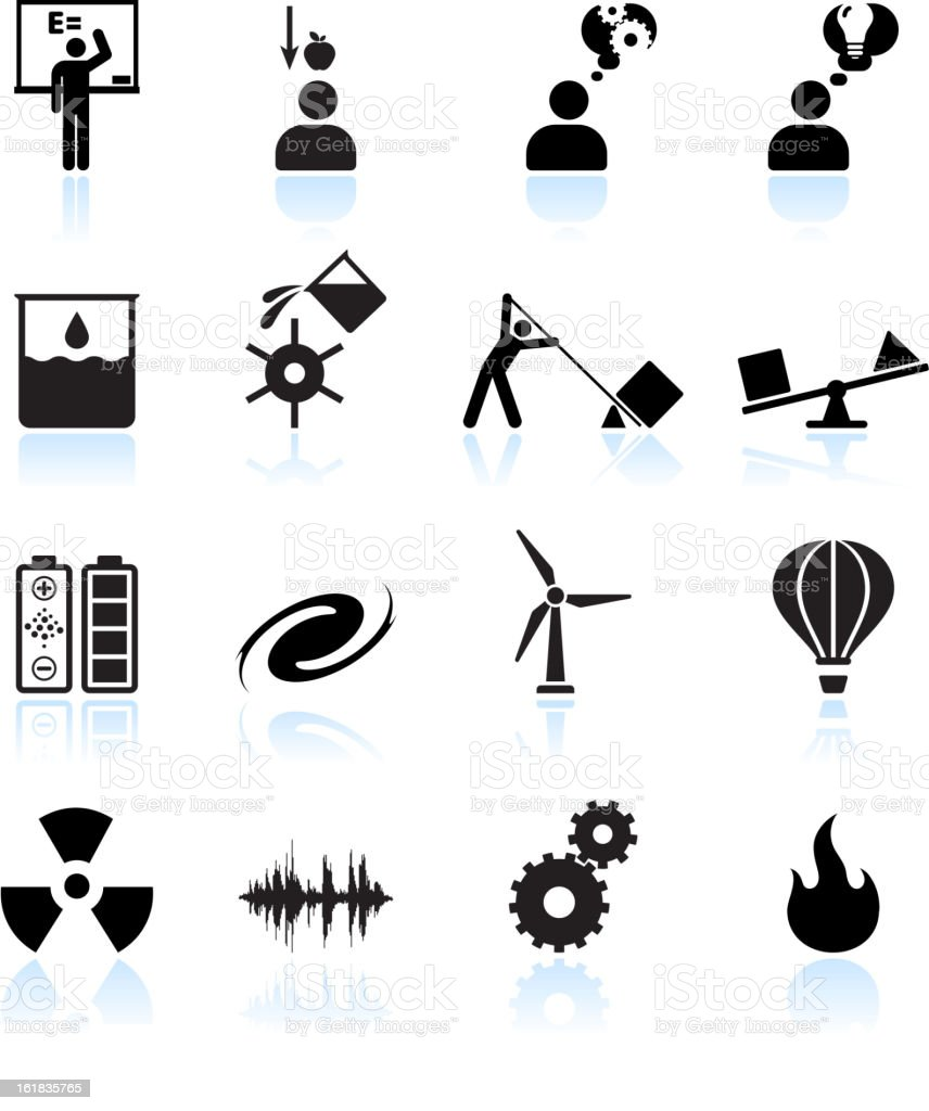 Physics in daily life black and white vector icon set
