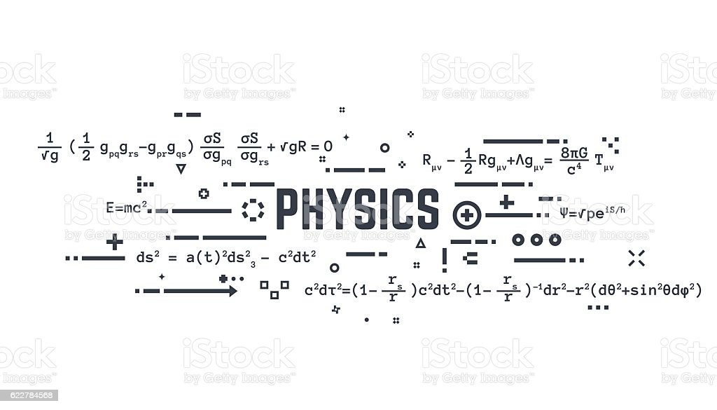 Physics line equations vector art illustration