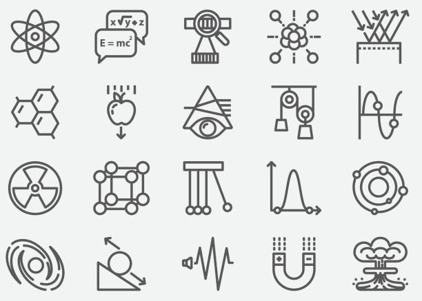 Physics Line Icons Physics Line Icons laboratory glassware stock illustrations
