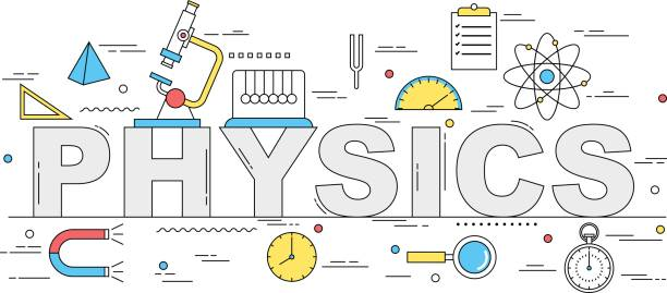 Physics line style illustration vector art illustration