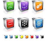 physics models 3D vector icon set with Metal Rim