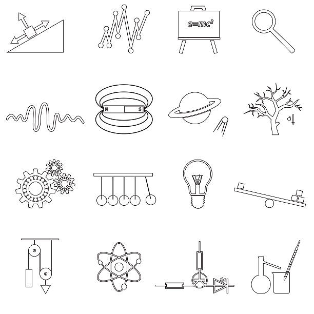 physics outline simple vector icons set eps10 vector art illustration